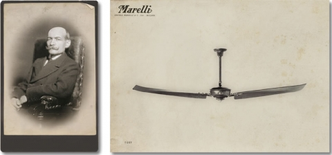 The history of our ceiling fans fantique as of 1905 marelli launched on the market what soon became the most representative and efficient 3 bladed ceiling fan of the early 1900s the aloadofball Choice Image